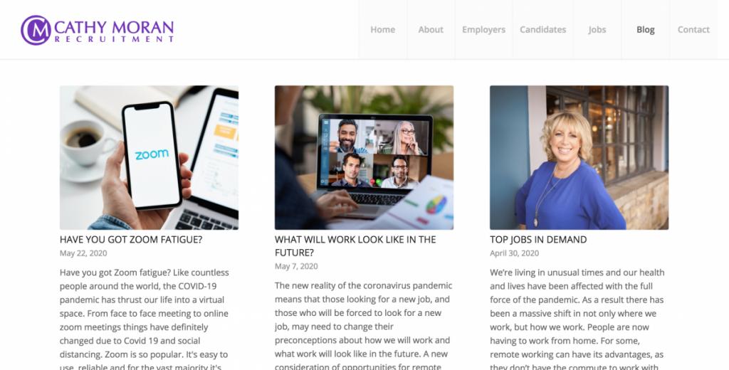 Screen Shot of Cathy Moran's New Blog